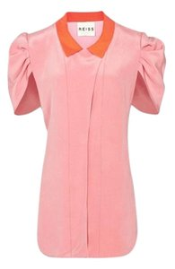 Reiss Color-blocking Short Sleeve Button Down Silk Cocktail Top pink, coral