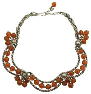 Napier Vintage 1950s Silver-plated Napier Topaz-Colored Bead Swag Necklace