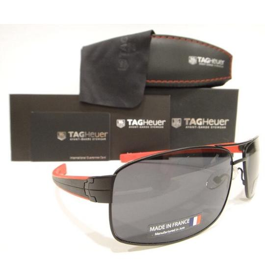 TAG Heuer Tag Heuer 0255 Sunglasses TH0255 LRS 110 Matt Black Red Authentic New Image 2