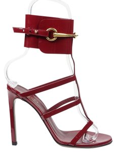 Gucci Ursula 37 Raspberry Horsebit Red Sandals
