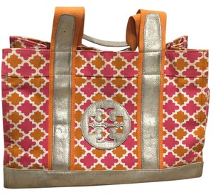 Tory Burch Pink, Orange, And Silver Travel Bag