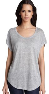 Joie Linen Crewneck Rounded Hem T Shirt Heather Gray