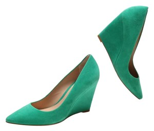 Pour La Victoire Suede Structured Pointed Toe green Wedges