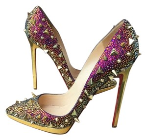 Christian Louboutin Gold Rainbow Spike Strass Pumps