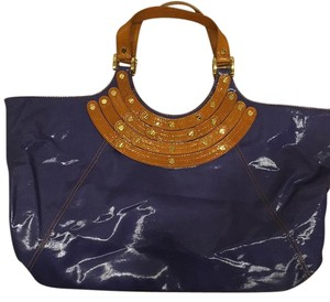 Tory Burch Blue With Gold Hardware Travel Bag