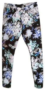 Cynthia Rowley Floral Scuba Comfortable floral, black white blue purple Leggings