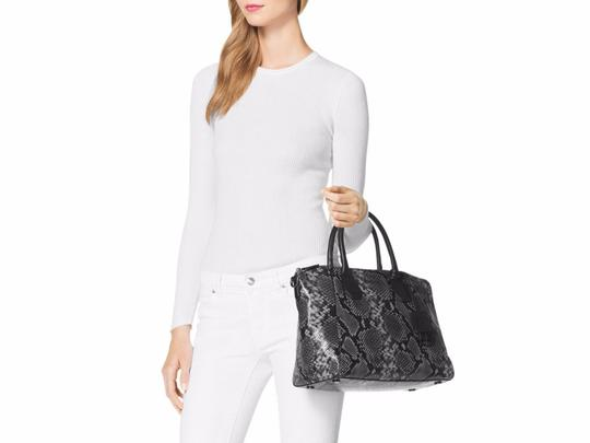 Michael Kors Campbell Embossed Leather Shoulder Satchel in Steel Grey Image 5
