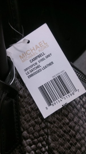 Michael Kors Campbell Embossed Leather Shoulder Satchel in Steel Grey Image 7