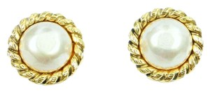 Chanel Auth Chanel Gold Plated Faux Pearl Texture Large Clip on Earrings
