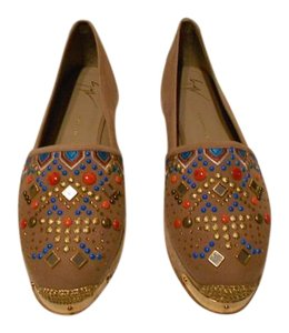 Giuseppe Zanotti Swarovski Accents Beaded Embroidered Design Made In Spain Brown Flats