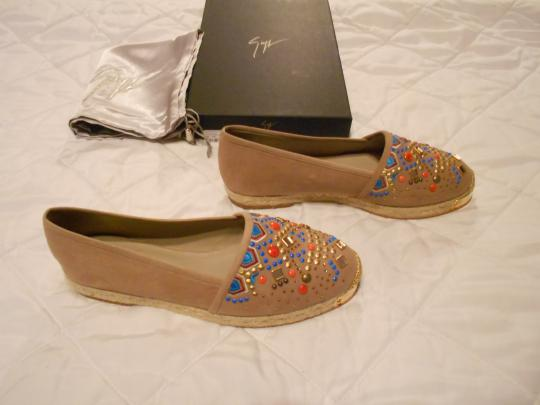 Giuseppe Zanotti Swarovski Accents Beaded Embroidered Design Made In Spain Brown Flats Image 1