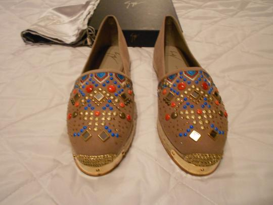 Giuseppe Zanotti Swarovski Accents Beaded Embroidered Design Made In Spain Brown Flats Image 2
