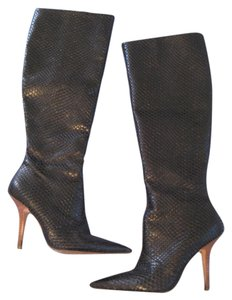 Report Signature Pointed Toe Tall Snakeskin Black Boots
