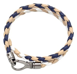 Tod's Tod's Tan Navy & White MyColors Leather Wrap Double Bracelet
