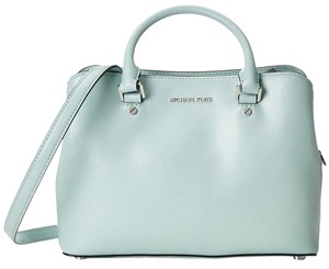MICHAEL Michael Kors Savannah Medium Met Saffiano Leather Satchel in Celadon