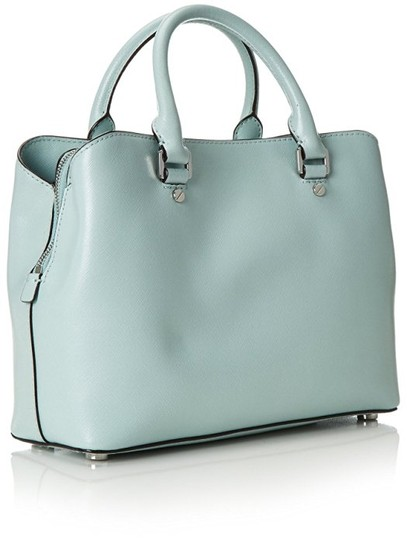 MICHAEL Michael Kors Savannah Medium Met Saffiano Leather Satchel in Celadon Image 1