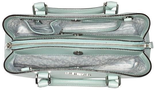 MICHAEL Michael Kors Savannah Medium Met Saffiano Leather Satchel in Celadon Image 4