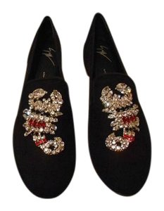 Giuseppe Zanotti Swarovski Scorpion Design Made In Italy Black Flats