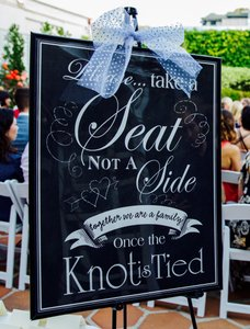 Ceremony Seating Sign W/ Frame And Stand Up Easel