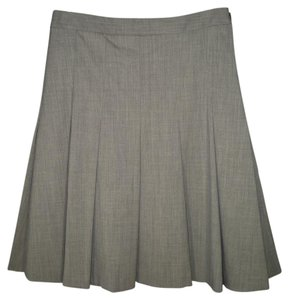 Theory Wool Gray Pleated A-line Skirt