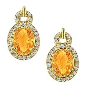 LoveBrightJewelry November Birthstone Citrine with Diamonds Earrings in 14K Yellow Gold