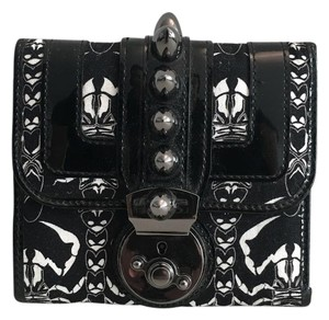 Thomas Wylde Studded Scorpion Printed Canvas/Patent Leather Wallet