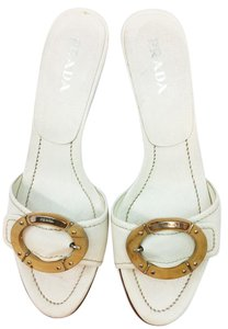 Prada White Leather Sandals