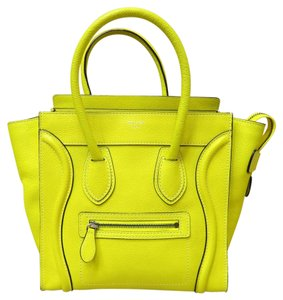 Céline Celine Micro Luggage Tote in Yellow