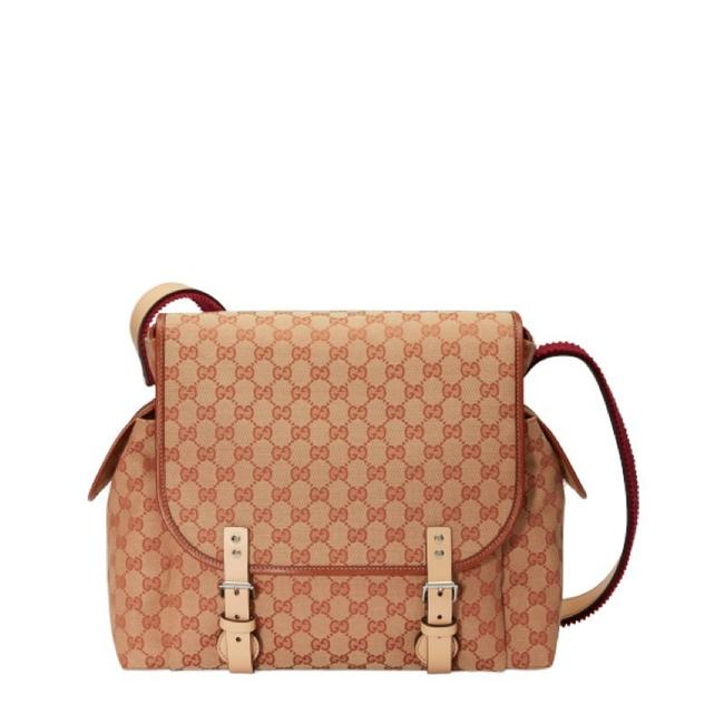 Item - Supreme Messenger 606823 Changing Beige and Red Gg Canvas Diaper Bag