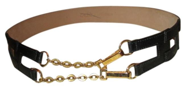 Item - Black & Gold Leather and Chain Belt