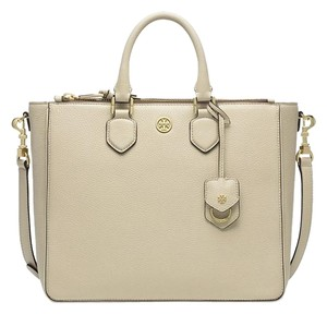 Tory Burch Pebbled Gold Tote in Beige