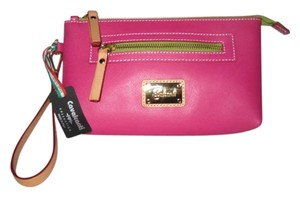 Cavalcanti Leather Made In Italy Clutch Wristlet in Pink