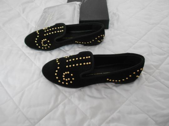 Giuseppe Zanotti Designed Gold Tone Studs Perforated Accent Made In Italy Black Flats Image 3