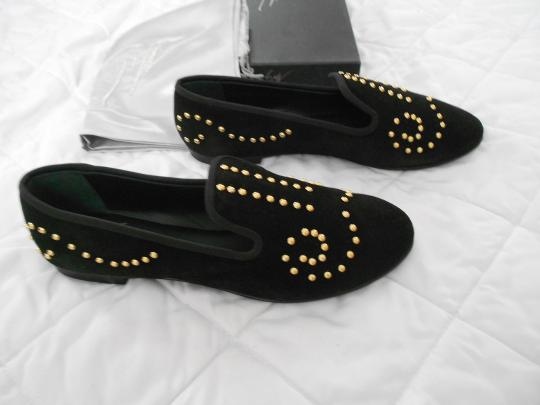 Giuseppe Zanotti Designed Gold Tone Studs Perforated Accent Made In Italy Black Flats Image 2