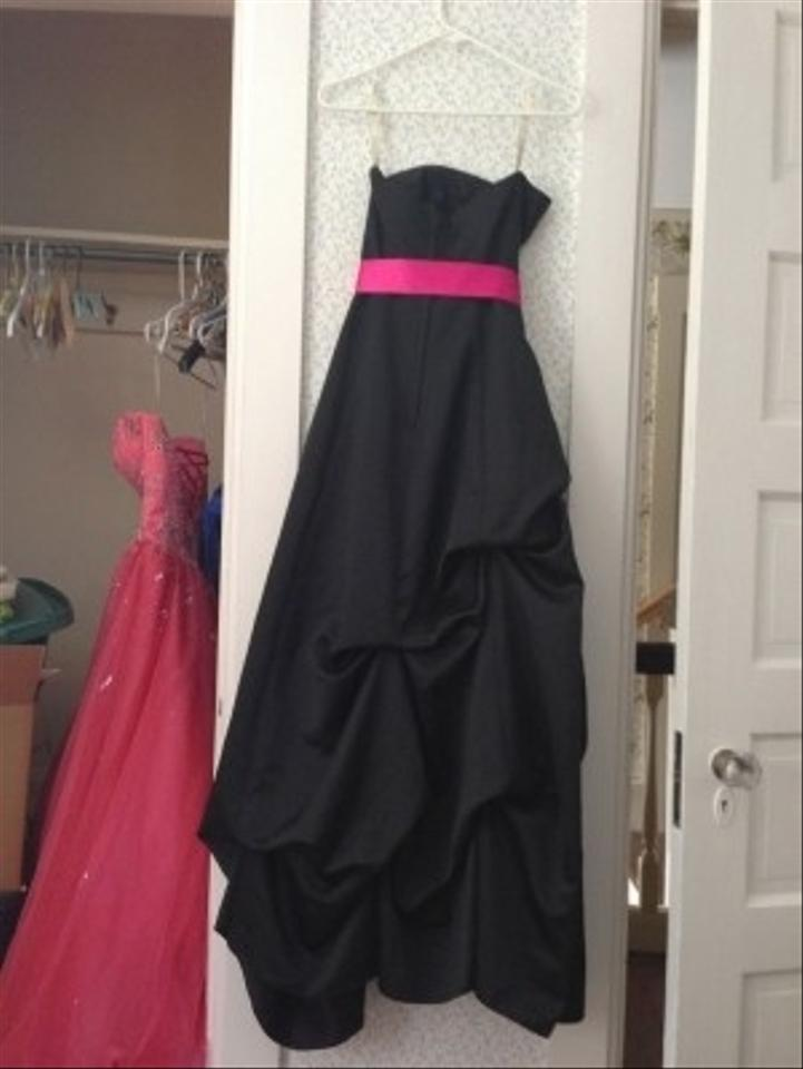 Forever Yours Black Satin Strapless A Line Style 76216 Long Formal