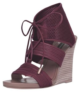 Derek Lam Leather Lace Up Sandal Red Ochre Wedges