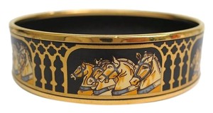 Herms ENAMEL ON PALLADIUM HORSE BANGLE