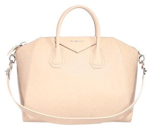 Givenchy Medium Patent Leather Satchel in Beige / Buff