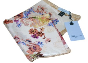 Blumarine New BLUEMARINE Magnificent Florals Blush Multi Twill Silk Scarf 35
