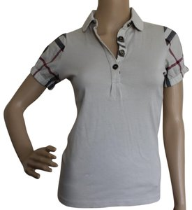 Burberry Nova Check Plaid Monogram Cotton Silver Hardware Top Beige, Black