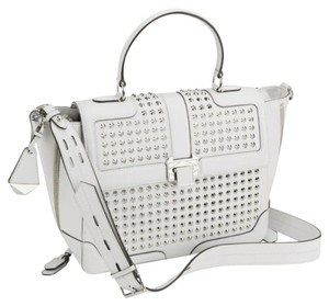 Rebecca Minkoff Designer Studded Leather Satchel in Gray