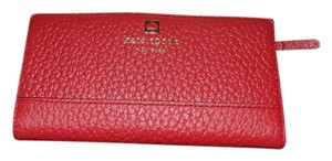 Kate Spade New KATE SPADE Slim Southport Avenue Stacy Leather Wallet Dynasty Red