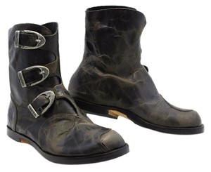 CYDWOQ Handmade In Ca Nickel Buckles Dust Bag And Box Marbled Brown Boots