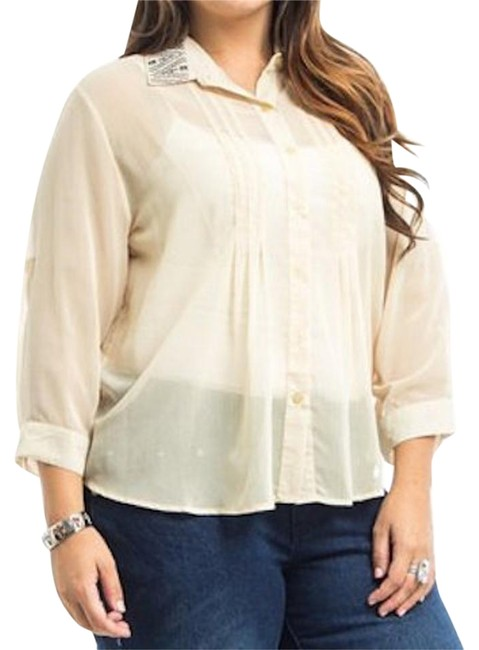 Preload https://img-static.tradesy.com/item/18912493/cream-embroidered-blouse-button-down-top-size-20-plus-1x-0-1-650-650.jpg