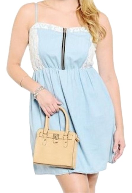Preload https://img-static.tradesy.com/item/18912592/blue-white-lace-accent-denim-above-knee-night-out-dress-size-20-plus-1x-0-1-650-650.jpg