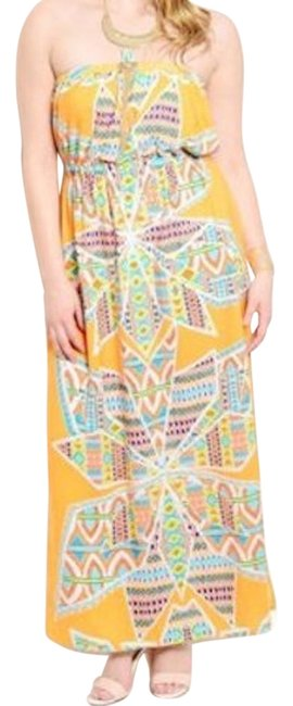 Preload https://img-static.tradesy.com/item/18912649/yellow-50-off-strapless-aztec-maxi-long-night-out-dress-size-16-xl-plus-0x-0-1-650-650.jpg