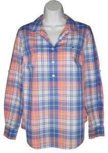 Vineyard Vines Plaid Cotton Popover Top