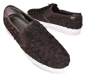 Tory Burch Sneakers Roses Texti;e brown Flats