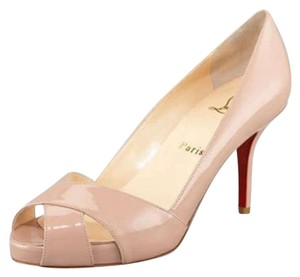 Christian Louboutin Peep Toe Patent Leather Stiletto Nude Pumps