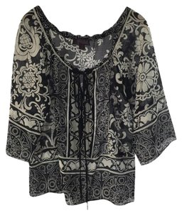 Hale Bob Summer Date Night Floral Fall Top BLK/ WHT